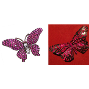 Doyle & Doyle Estate Pink Sapphire and Diamond Butterfly Pin from Doyle & Doyle