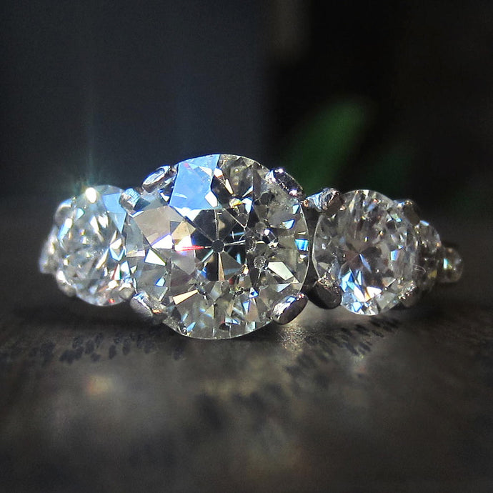 Today, Tomorrow, Forever: Three Diamond Vintage Engagement Ring of the Week