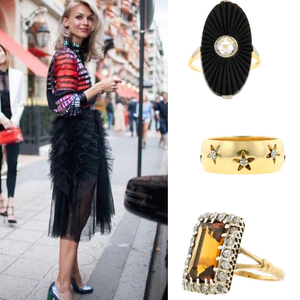 Fashion week street style with vintage statement rings from Doyle & Doyle