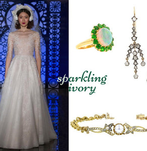 Vintage and antique wedding jewelry from Doyle & Doyle with gown from Reem Acra.