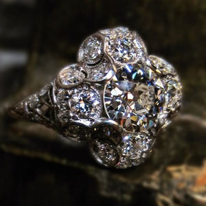 vintage diamond quatrefoil engagement ring from Doyle & Doyle