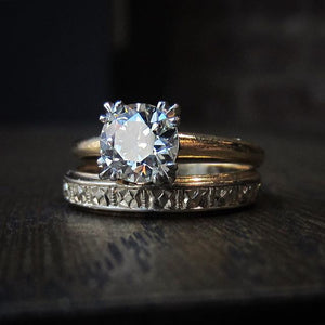mid century vintage wedding ring set
