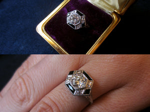Onyx and Diamond Vintage Ring from Doyle & Doyle
