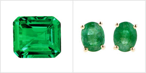 emerald stone and oval emerald stud earrings