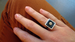 Art Deco Diamond & Onyx Ring