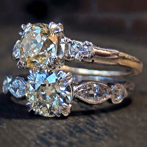 Vintage yellow diamond engagement rings from Doyle & Doyle