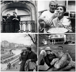 collage pictures of Joanne Woodward and Paul Newman in black and white
