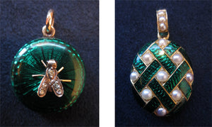 Victorian green enamel lockets from Doyle & Doyle