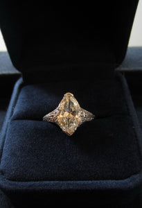 vintage marquise diamond engagement ring from doyle & doyle