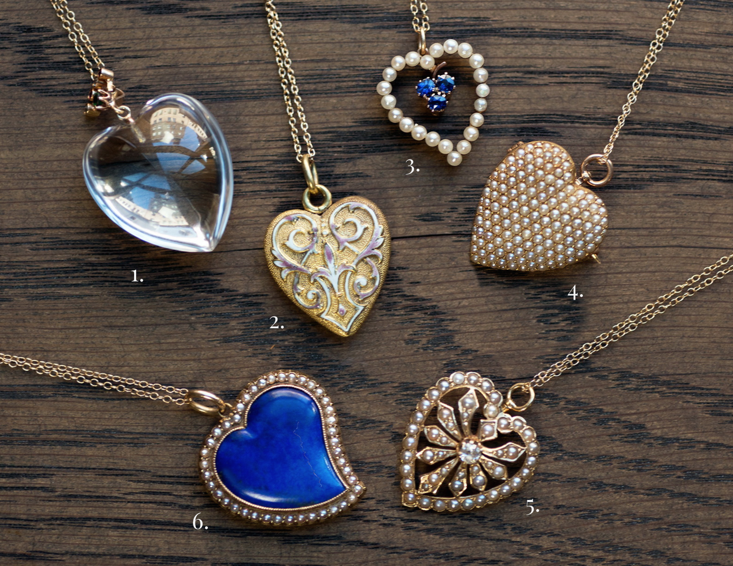 Vintage and antique heart pendants from Doyle & Doyle.