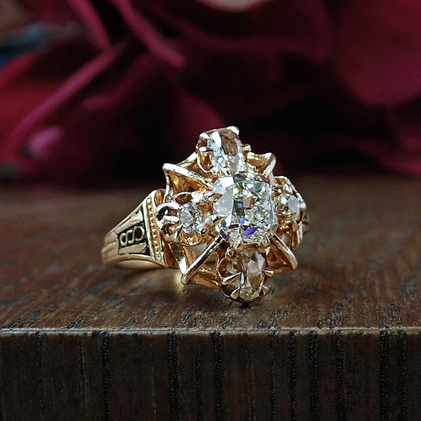 Victorian Engagement Ring from Doyle & Doyle, Cushion cut 1.27ct. 107245R