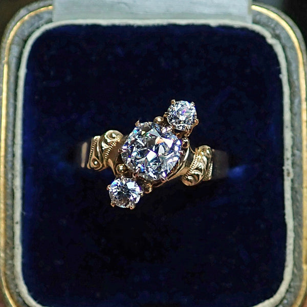 Antique Three Diamond Engagement Ring in Gold from Doyle & Doyle, Cushion cut 0.90ct. 107247R