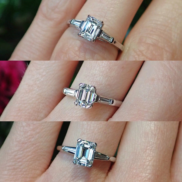 Three vintage emerald cut diamond and baguette engagement rings in platinum from Doyle & Doyle 107252R_107251R_107243R