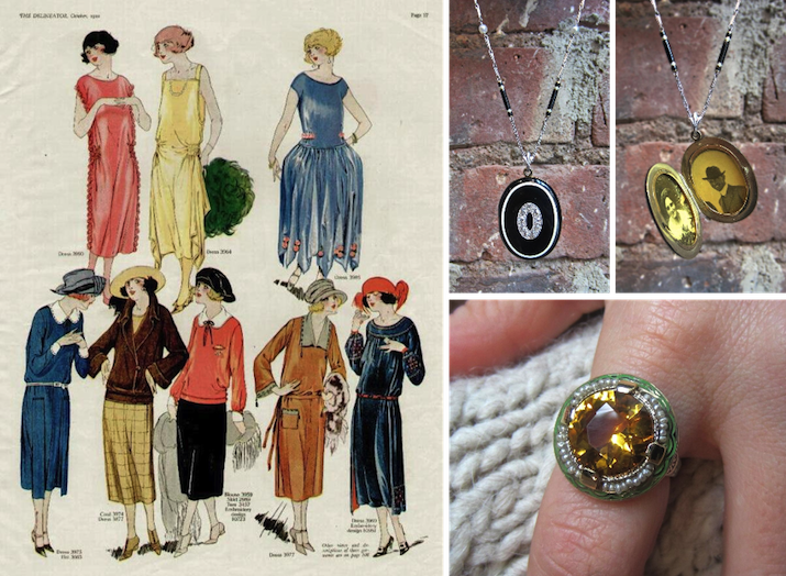 Art Deco Jewelry from Doyle & Doyle with 1920's Art Deco Fashion Print