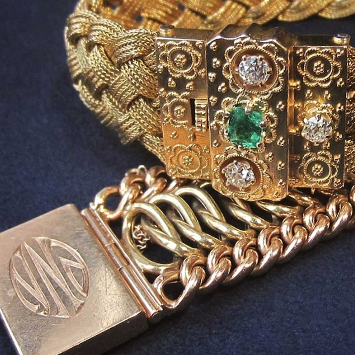 Doyle & Doyle antique gold emerald bracelets