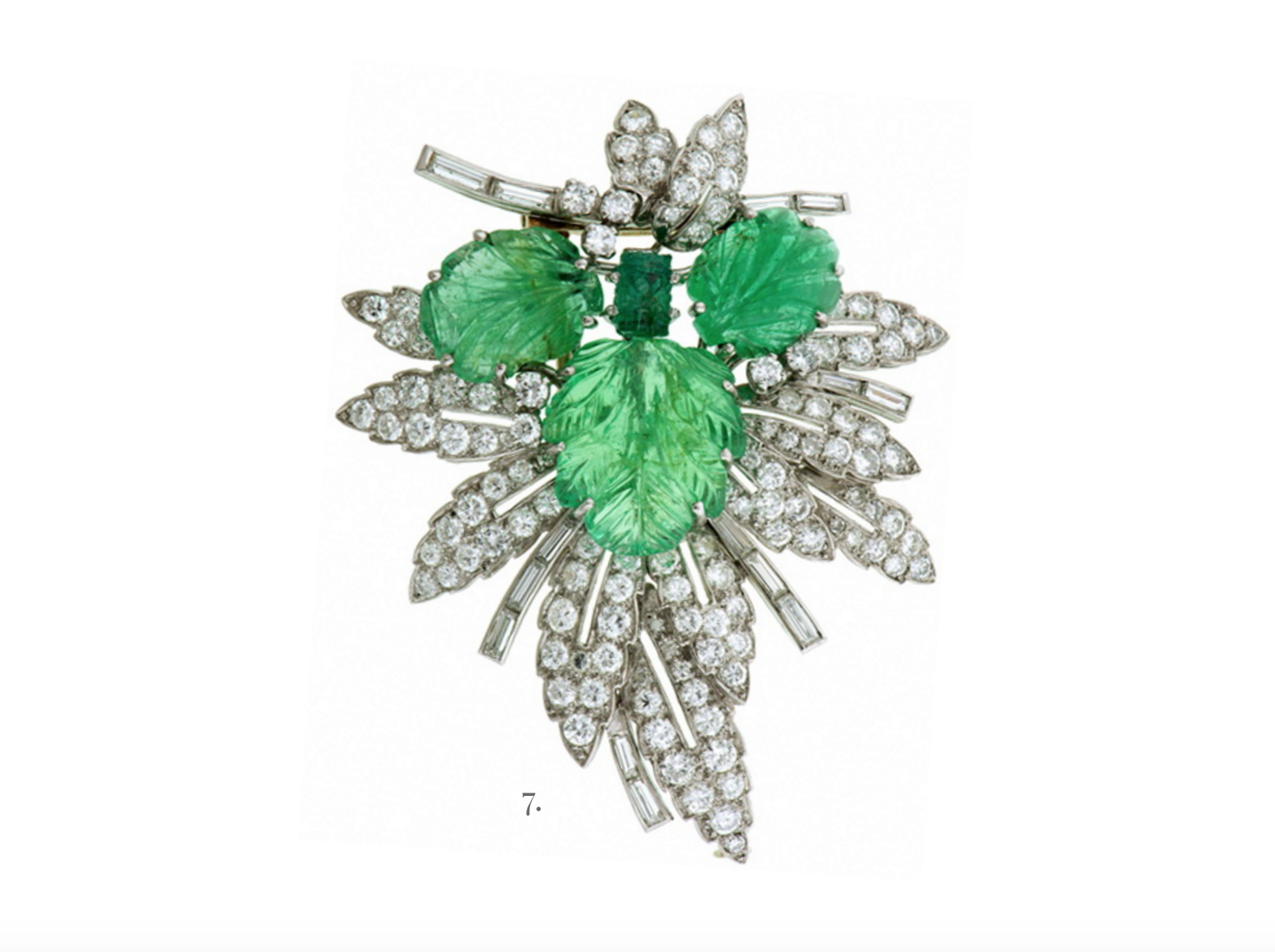Vintage carved emerald and diamond brooch from Doyle & Doyle.