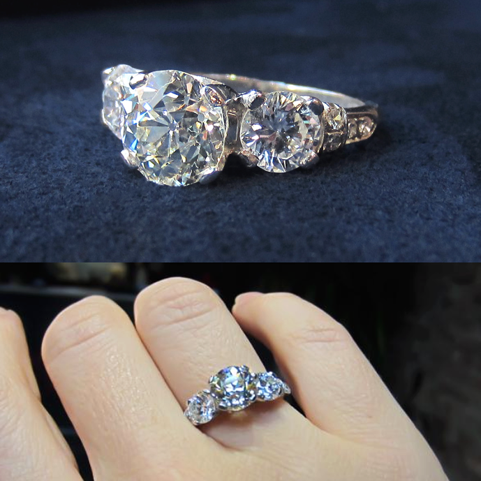 Vintage three diamond engagement ring from Doyle & Doyle