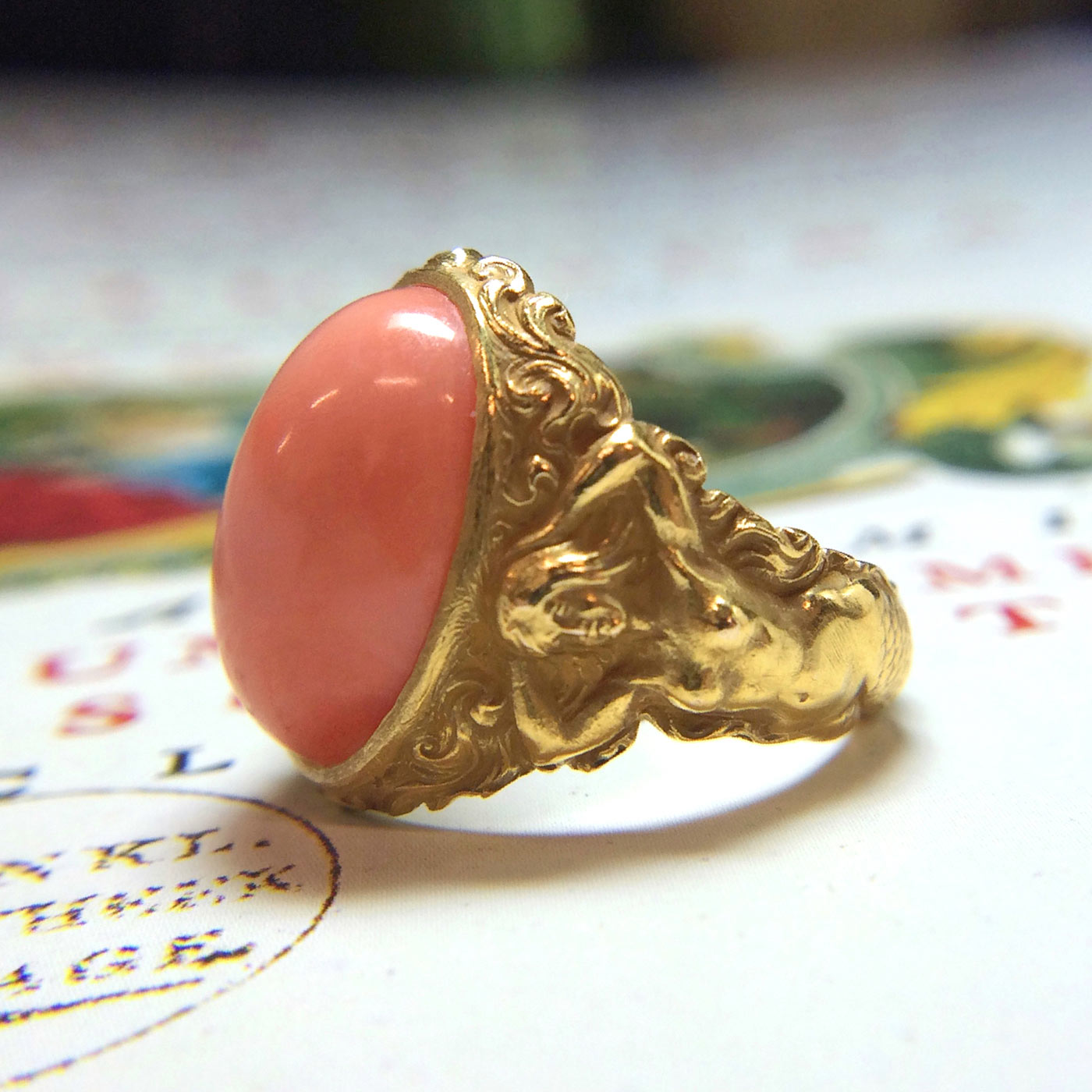 doyle and doyle art nouveau coral mermaid ring