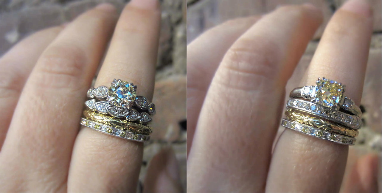 Vintage yellow diamond engagement rings and wedding bands from Doyle & Doyle