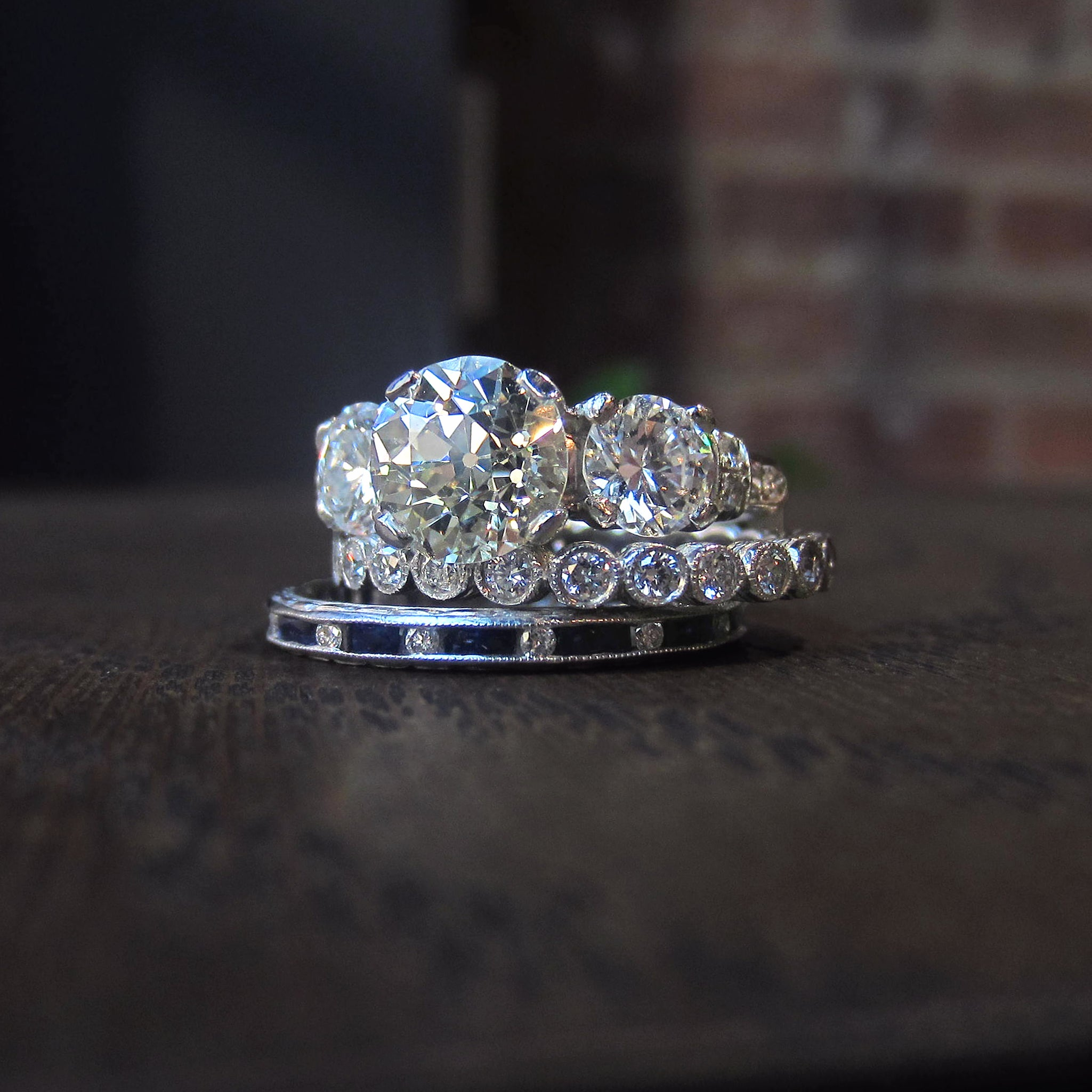 Vintage diamond engagement ring and wedding bands from Doyle & Doyle