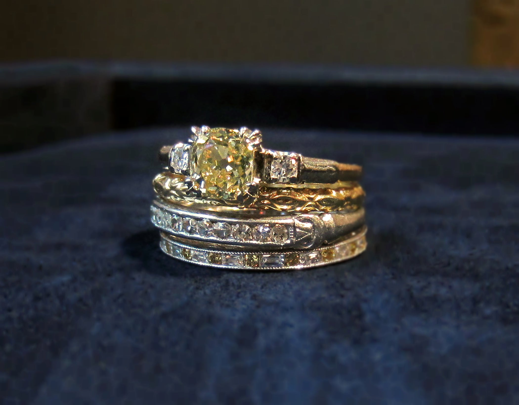 Vintage fancy yellow diamond engagement ring and wedding bands from Doyle & Doyle