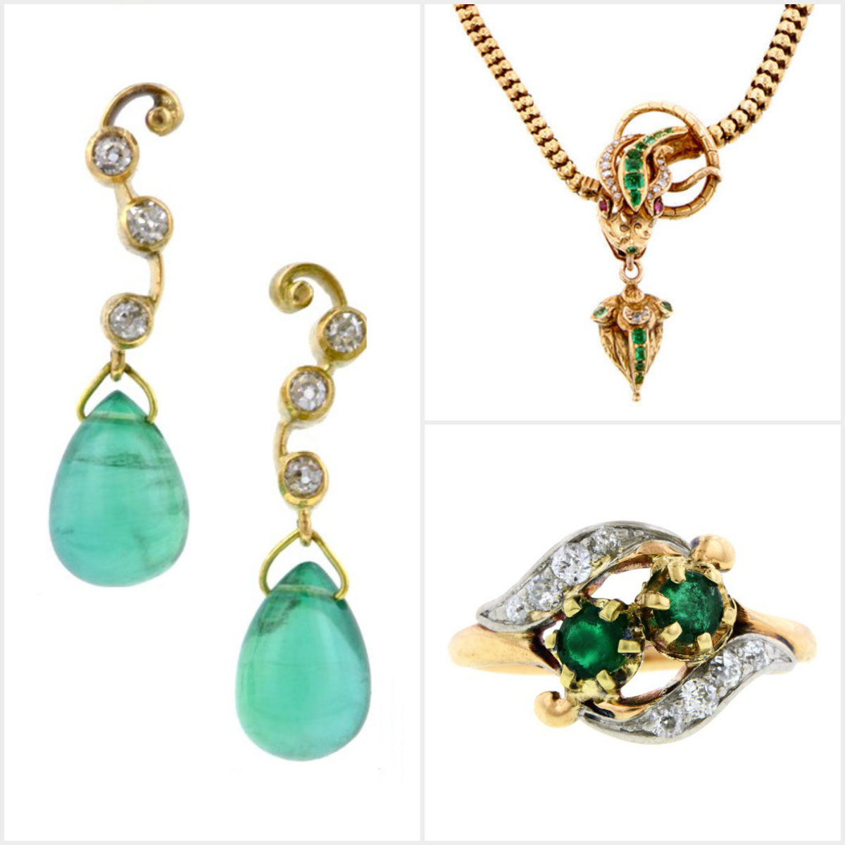 Doyle & Doyle antique gold emerald diamond jewelry