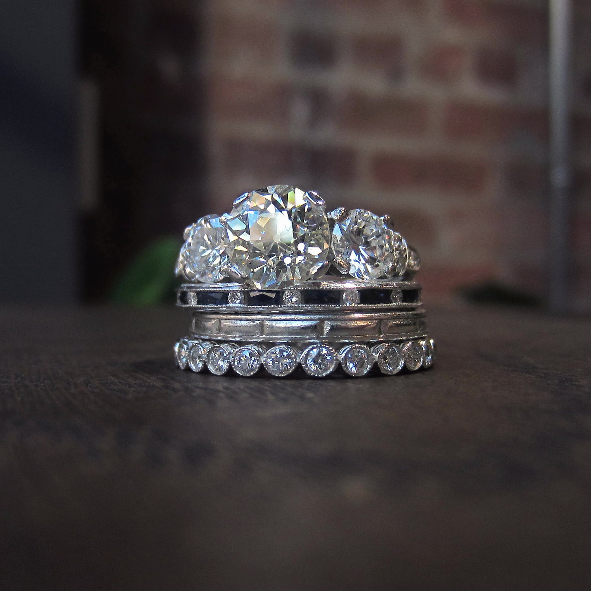 Vintage engagement ring and eternity band wedding bands from Doyle & Doyle