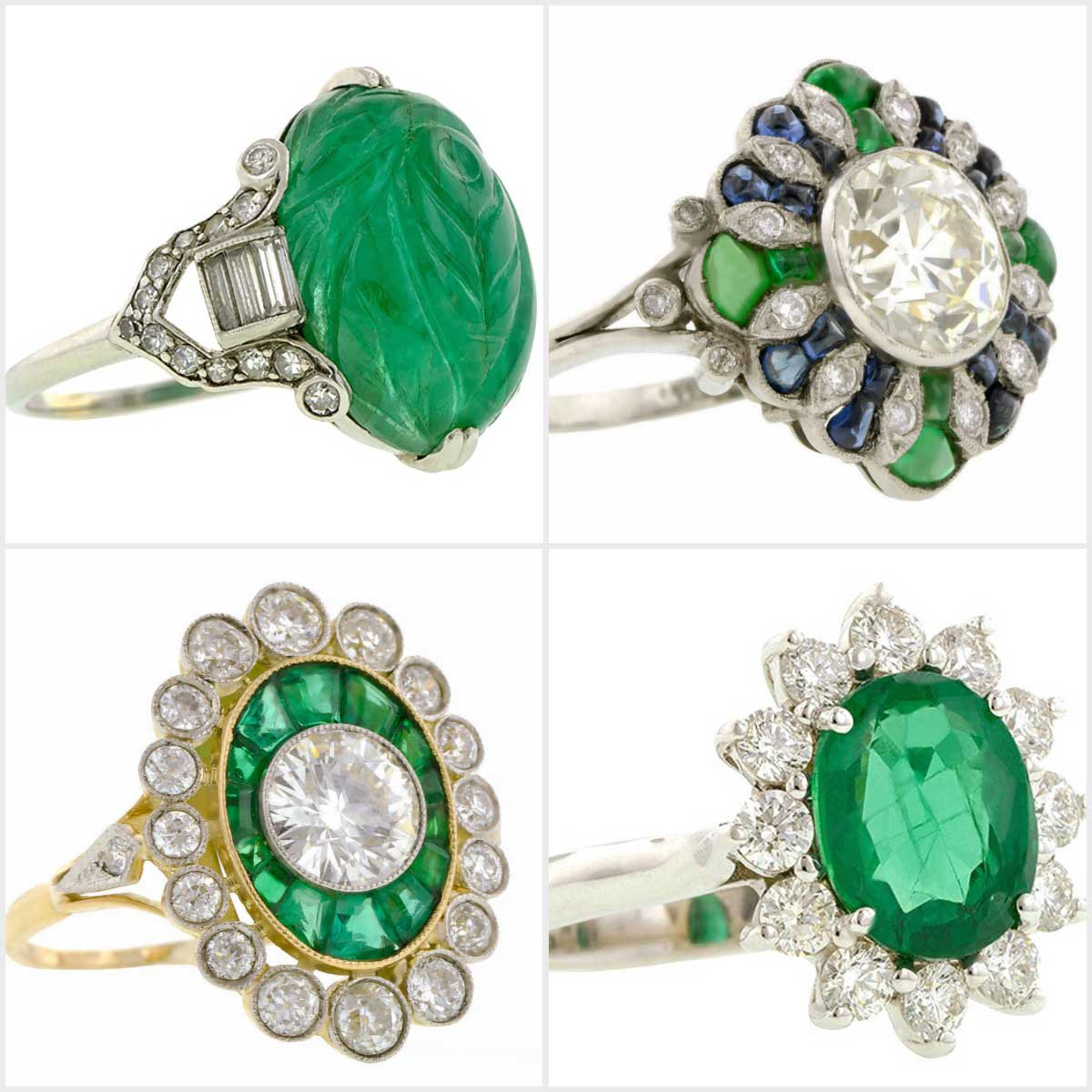 Doyle & Doyle vintage diamond and emerald rings