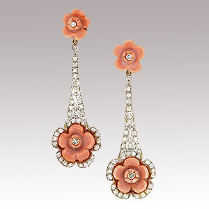 Coral diamond drop earrings