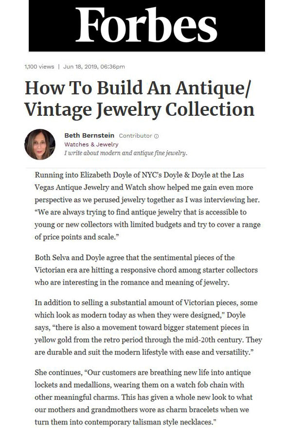 Forbes June 2019 Antique Vintage Jewelry Collection Doyle & Doyle
