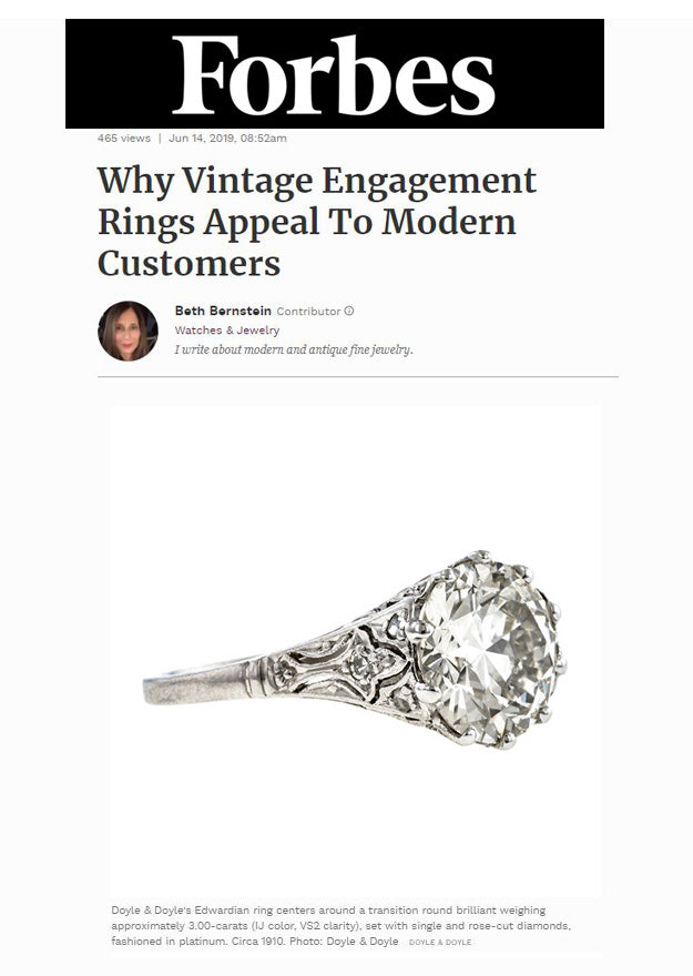 Forbes June 2019 Vintage Engagement Rings Doyle & Doyle