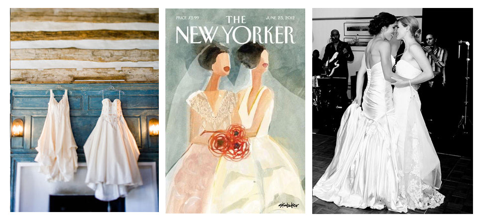 New Yorker Two Brides Cover and Two Dresses