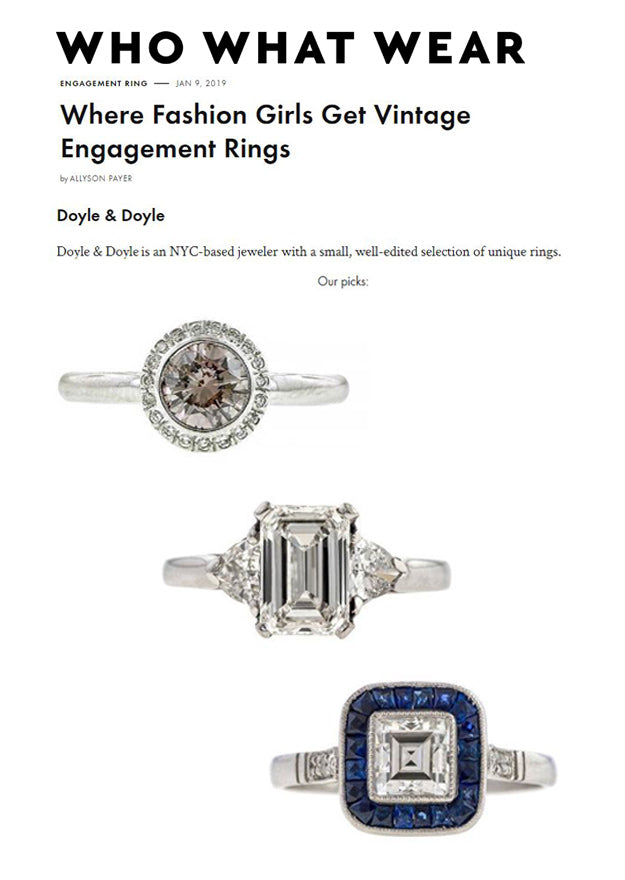 Who What Wear January 2019 Vintage Engagement Rings Doyle & Doyle