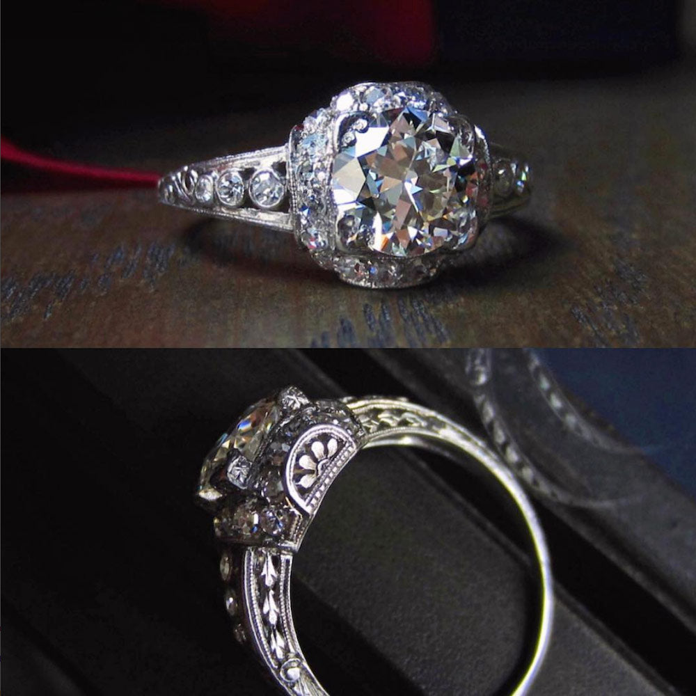 art deco engraved engagement ring