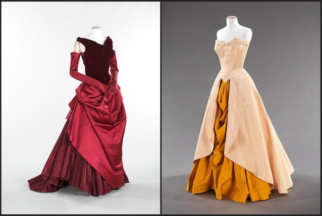 Charles James red and gold gowns