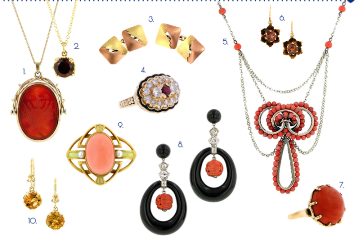 red organge colorful antique, vintage, and modern jewelry from Doyle & doyle