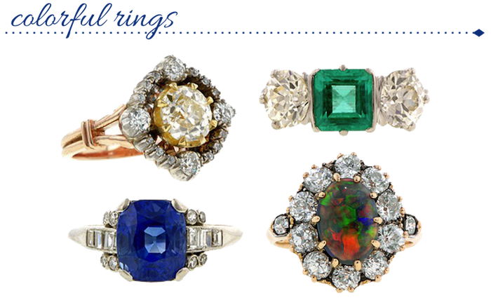 Colorful Antique Rings from Doyle & Doyle
