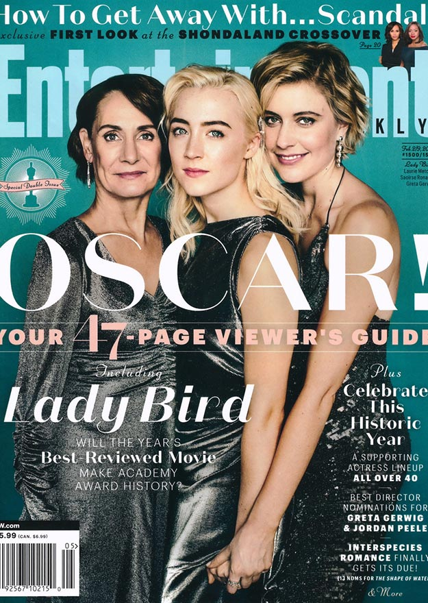 Oscars Issue Ladybird cover, Entertainment Weekly February 2018. Saoirse Ronan wearing Doyle & Doyle's antique diamond bow pin. Featuring Saoirse Ronan, Greta Gerwig, and Laurie Metcalf.