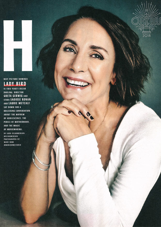 Entertainment Weekly February 2018, Laurie Metcalf from Ladybird wearing Doyle & Doyle's diamond tennis bracelets.