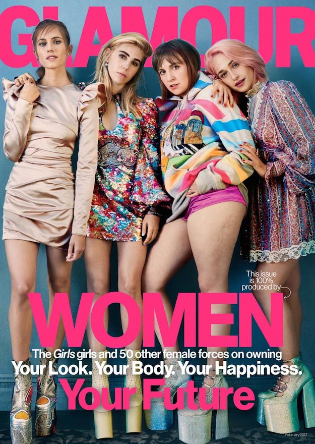Girls cast Glamour cover Feb 2017