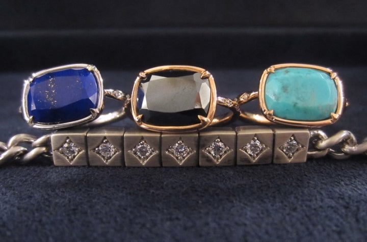 doyle & doyle's heirloom cushion rings and diamond bracelet