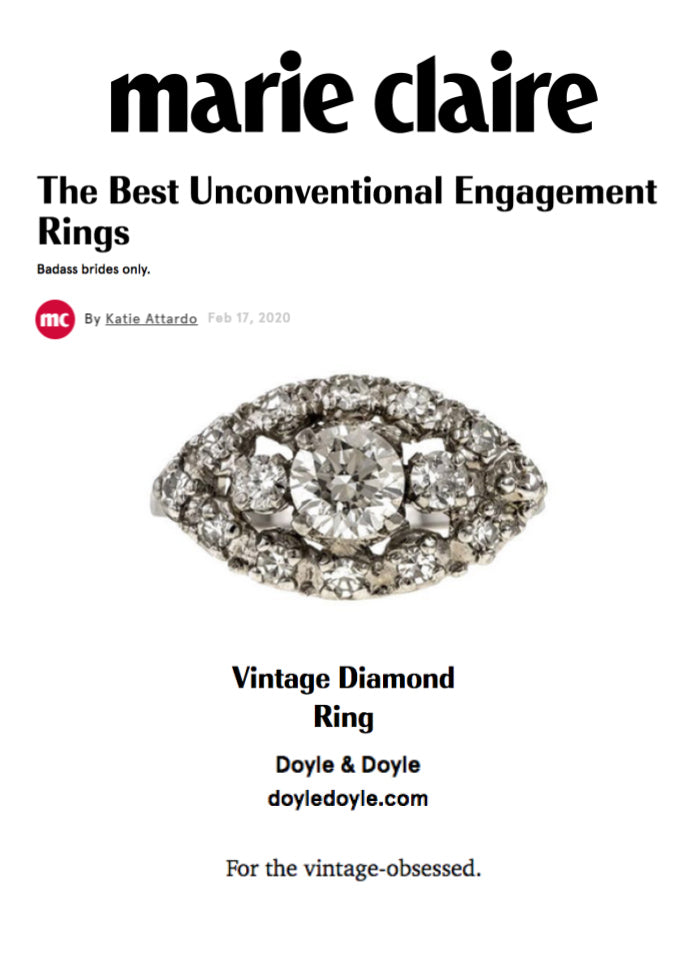 Marie Claire unconventional vintage engagement ring 02-17-20 from Doyle & Doyle in New York
