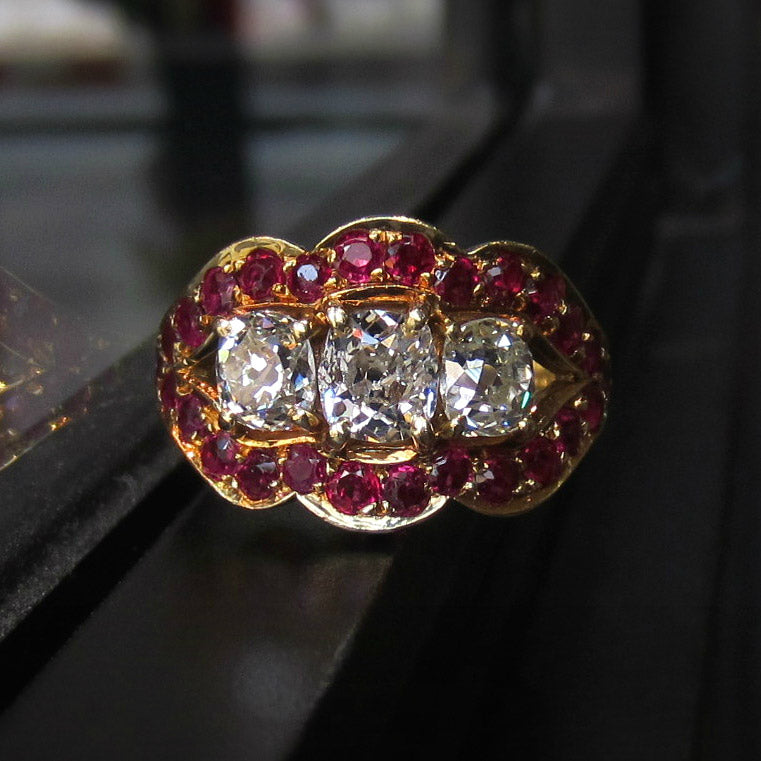 retro ruby and diamond engagement ring