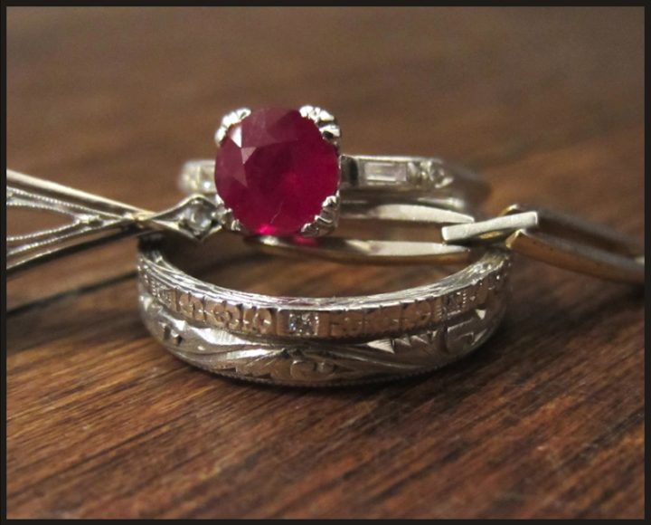 doyle & doyle ruby engagement ring with two wedding bands