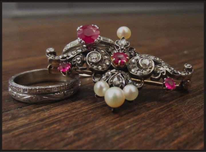 Doyle & Doyle Ruby and Diamond Engagement Ring with  4 pearl brooch