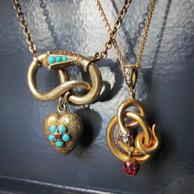 antique snake pendant necklaces