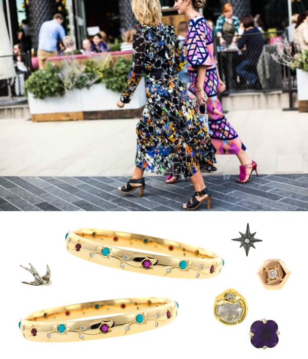 Fashion week street style with bangles and stud earrings from Doyle & Doyle