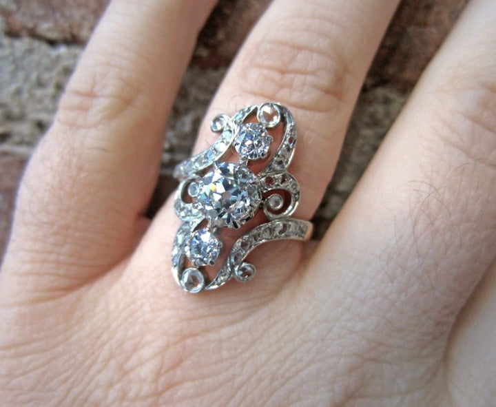 French Belle Epoque Dinner Ring on hand from Doyle & Doyle