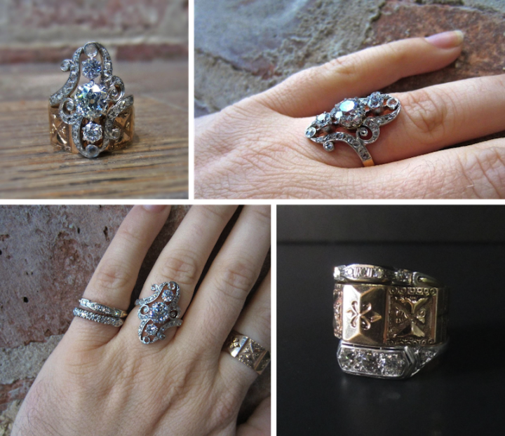 French Belle Epoque Dinner Ring with wedding bands at Doyle & Doyle