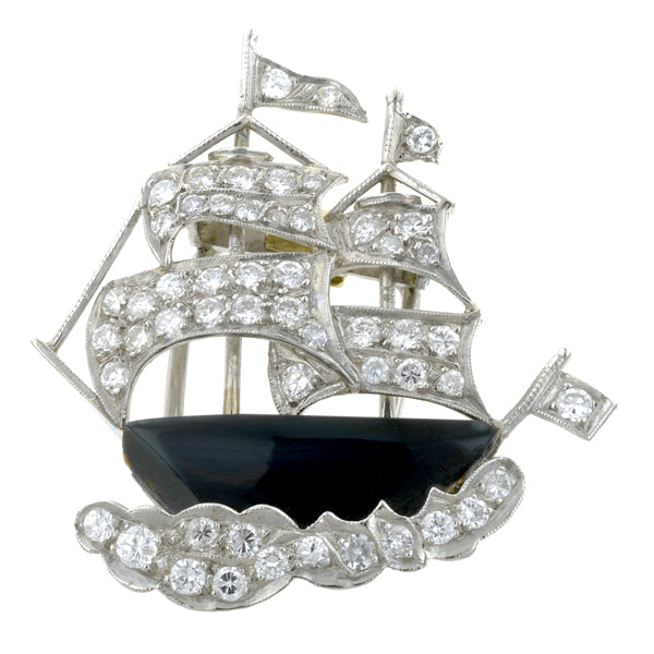 Vintage Onyx & Diamond Sailboat Pin:: Doyle & Doyle